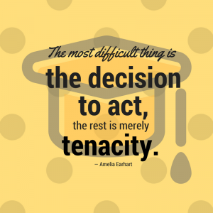 quote graphic - The most difficult thing is the decision to act, the rest is merely tenacity. - Amelia Earhart